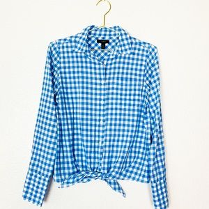 J. Crew | Blue Plaid Button Up Waist Tie Top